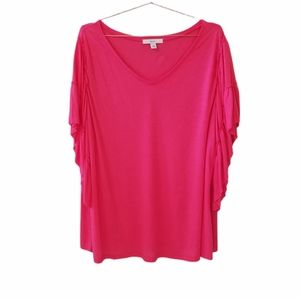 SEJOUR Pink Ribbon Frill Sleeve Top Size 3X